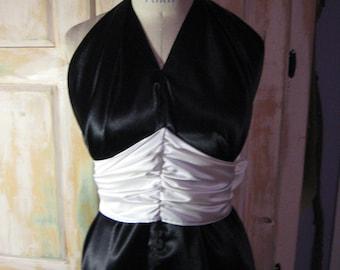 "Black and white formal ""toga"" style halter dress"