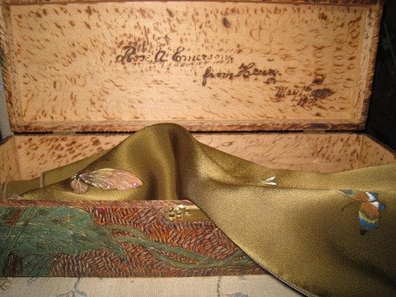 Antique Flemish Pyrography Glove Box 1907