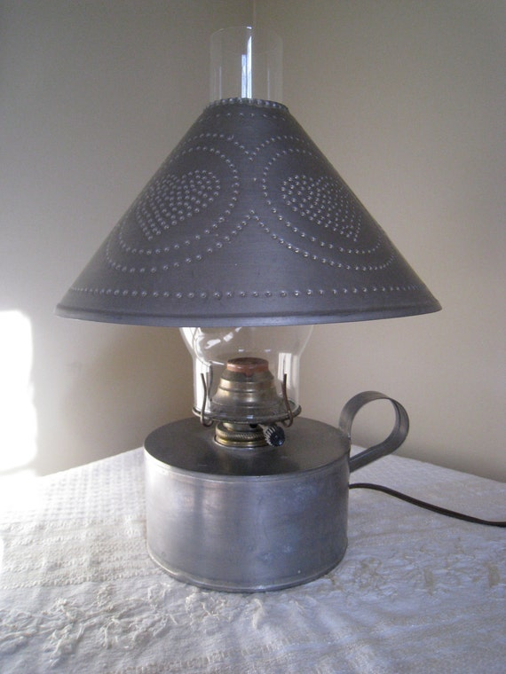 Primitive Early American Colonial Lamp Punched By