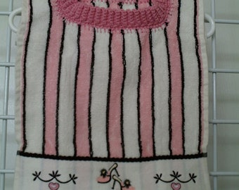 Pink Striped Girlie Girl Pullover Bib