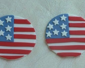 Gum Paste American Flag Cupcake Topper