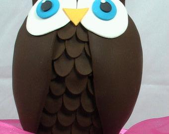 Edible Gum Paste Owl Cake Topper -- Made to Order