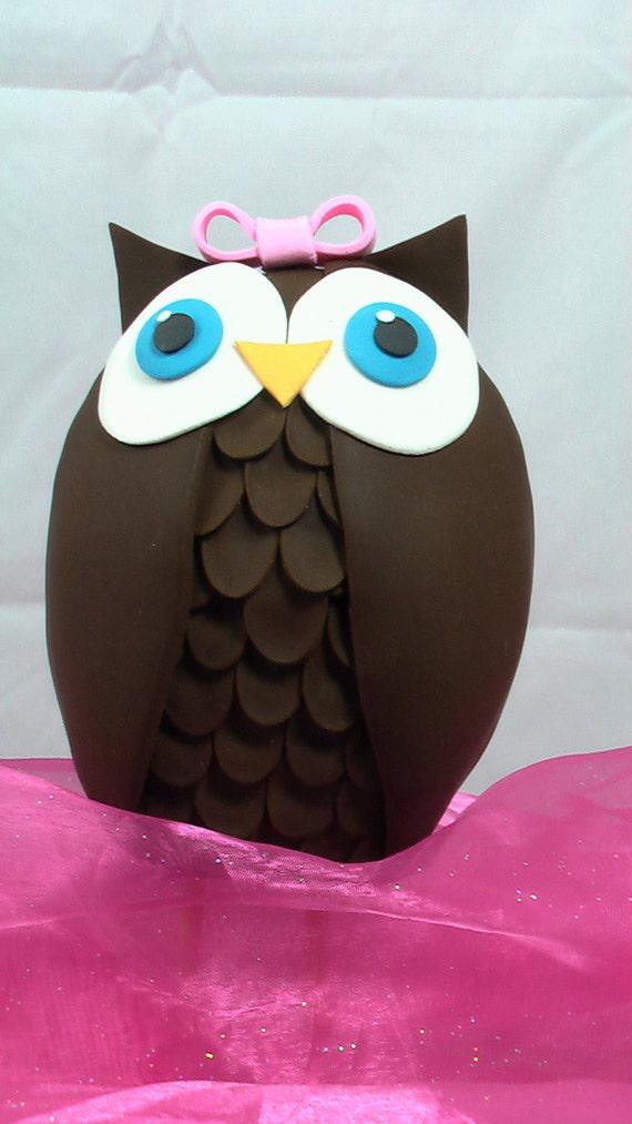 Edible Cake Image Owl : Edible Gum Paste Owl Cake Topper Made to Order