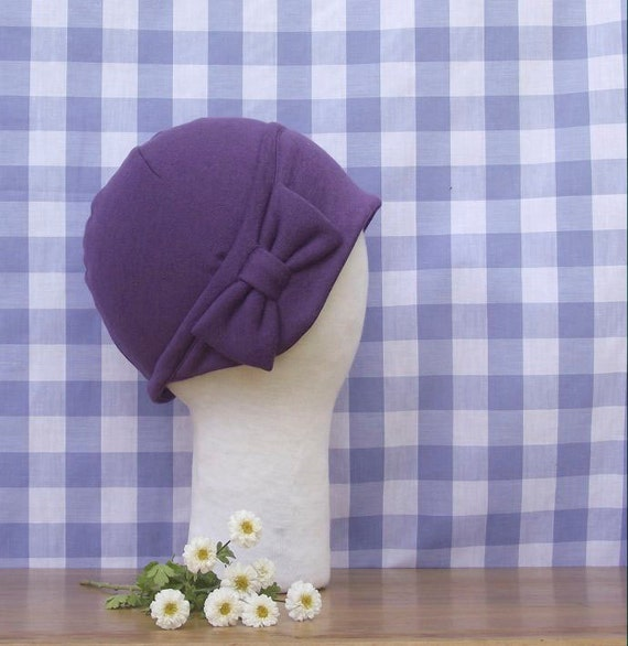 Purple Cloche Hat with Large Bow - MEDIUM