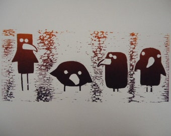 Ravenous III: Original four funny ravens wood block print with signature