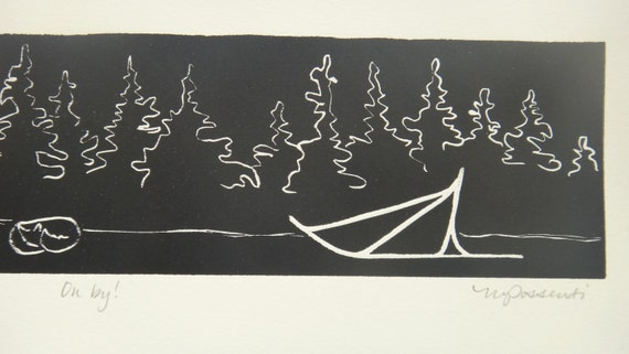 On by!: Original sled dog mushing in Alaska relief print with signature