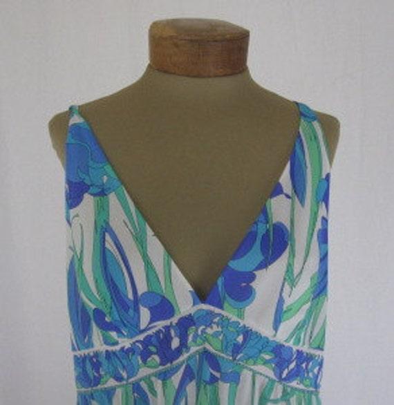 Emilio Pucci for Formfit Rogers green & blue iris slip dress