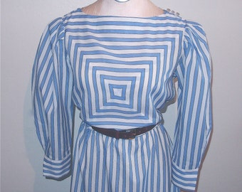 Edwardian Striped Vintage Dress / 80's Dress /1980's Edwardian / Victorian / Meet Me In St. Louis