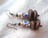 African Ntama Coumba seed Krobo recycled glass Earrings by Fianaturals