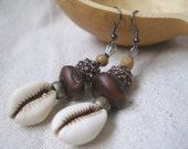 African Cowrie shell Brass copper wood seed Earrings by Fianaturals on Etsy