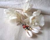 African Cowrie  Shell Red Black Seed Earrings by Fianaturals on Etsy