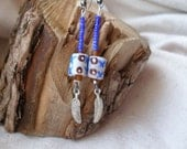 Native american inspired Upcycled metal Krobo glass Earrings by Fianaturals on Etsy