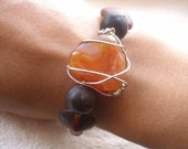 eco MOTHERS DAY SPECIAL African bracelet-Wire wrapped Carnelian agate and glass by Fianaturals