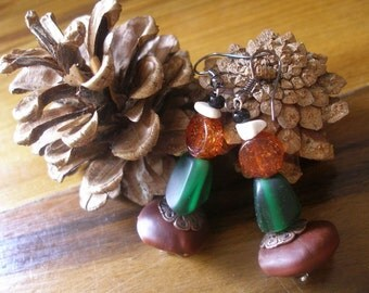 African Natama Coumba seeds Magnesite glass green orange Autumn Beauty Earrings by Fianaturals