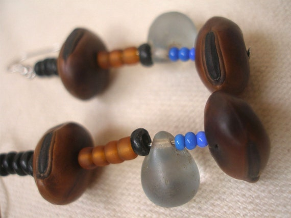 African seed  glass Blue Eye Earrings by Fianaturals on Etsy