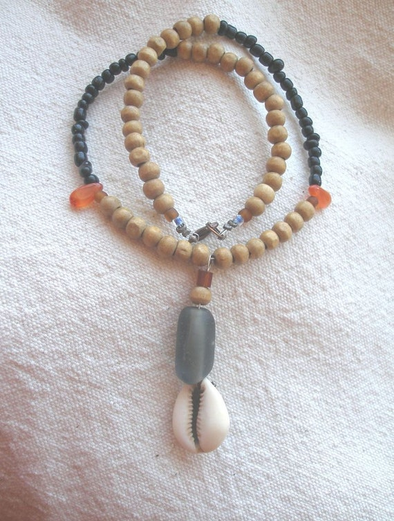 Cowrie Shell Glass african necklace by Fianaturals on Etsy
