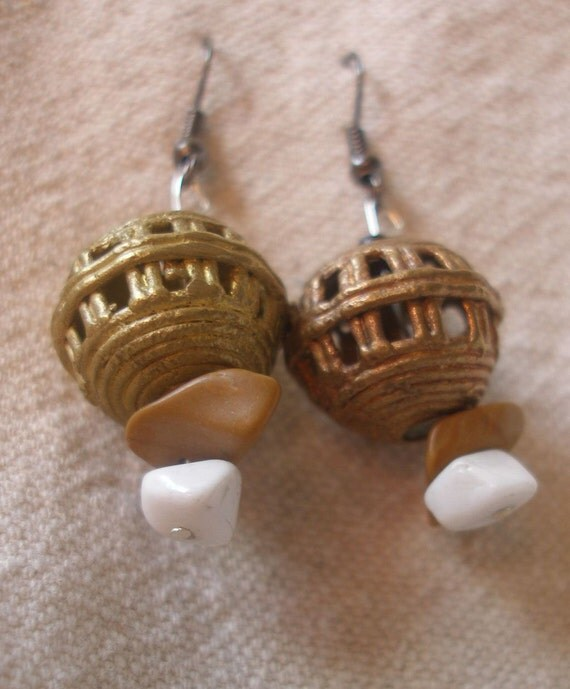 African brass Earth Earrings by Fianaturals on Etsy