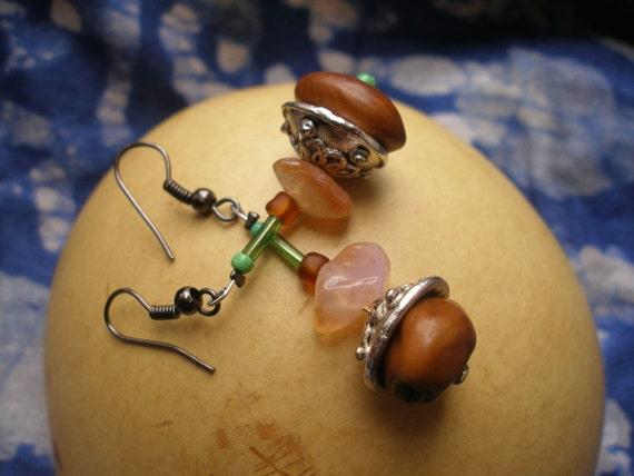 African seed Carnelian  Beauty Dangle Earrings by Fianaturals on Etsy