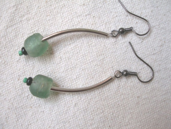 African Krobo recycled glassGreen Earrings by Fianaturals on Etsy
