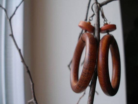 African Hoops Wood circles Earrings by Fianaturals on Etsy