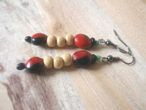 Red & Black Seed Wood Earrings by Fianaturals on Etsy