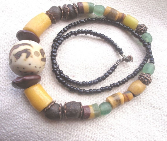 African necklace- Sunshine Yellow Krobo recycled glass and raffia palm nut by Fianaturals