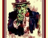 Zombie Uncle Sam, WE WANT CHEW  Undead Digital Painting. Poster 10x15 Photo Print