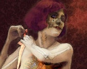 Open Heart  Victorian Erotic Skeleton Woman Original digital painting Giclee Art Print 11x14