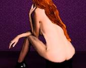 The Ginger Roller Derby Skater Nude (the thinker) digital painting Photogrhaic Art Print 9x12