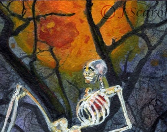 Feel It In My Bones Skeleton in Moonlight  Watercolor  Fine Art  Print FREE SHIPPING