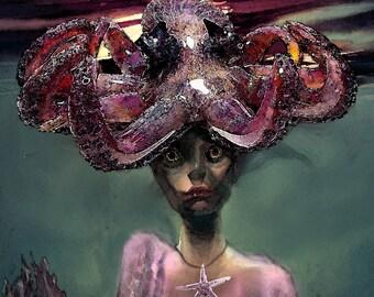 Mermaid Queen Octopus Girl Original Painting  Photgraphic Art Print 8x10