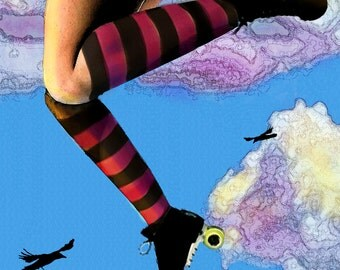 The Sky's the Limit  Roller Girl with skates Original digital painting Lustre Photo Art Print 11x22