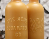 """Beeswax Candle - antique bottle shaped - """"ACME SODA WATER"""" 1800's - by Pollen Arts - Lg."""