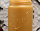 "Beeswax Candle - antique bottle shaped - ""ROOT MASON JAR"" One Full Pint - by Pollen Arts - Lg."
