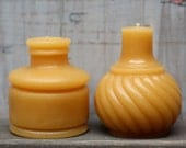 "Beeswax Candle Set - antique bottle shaped - ""TWO INKWELLS"" ""bell"" and ""swirl"" - by Pollen Arts - Md & Sm."
