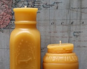 "Beeswax Candle Set - antique bottle shaped - ""4oz Honey and Milk weed Cream "" - by Pollen Arts - Md. & Sm.."