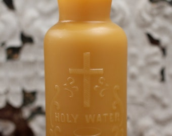 """Beeswax Candle - antique bottle shaped - """"HOLY WATER"""" - by Pollen Arts - Md."""