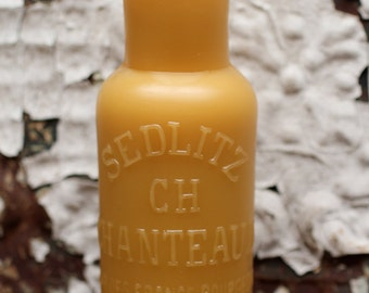 """Beeswax Candle - antique bottle shaped - """"CHANTEAUD PARIS"""" French Bottle - by Pollen Arts - Lg."""