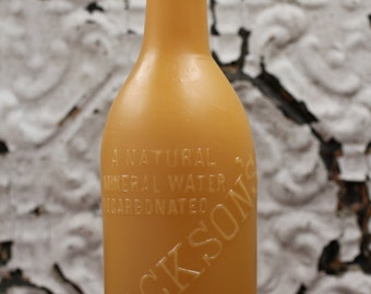 "Beeswax Candle - antique bottle shaped - ""JACKSON'S SODA WATER"" - by Pollen Arts - Lg."