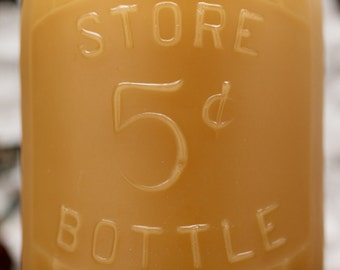 "Beeswax Candle - antique bottle shaped - ""FIVE CENT DAIRY"" One Full Pint - by Pollen Arts - Lg."