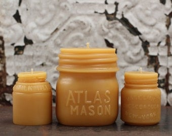 """Beeswax Candle Collection - antique bottle shaped - """"Atlas Mason Jar, Vaseline and Milk Weed Cream"""" - by Pollen Arts - Md. & Sm.."""