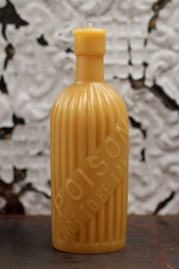 """Beeswax Candle - antique bottle shaped - """"POISON"""" Not to be Taken"""" - by Pollen Arts - Lg."""
