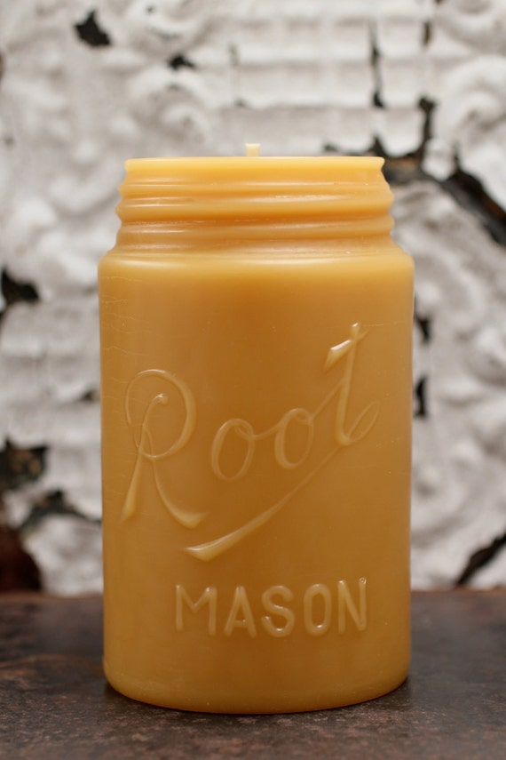"""Beeswax Candle - antique bottle shaped - """"ROOT MASON JAR"""" One Full Pint - by Pollen Arts - Lg."""