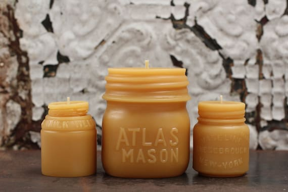 "Beeswax Candle Collection - antique bottle shaped - ""Atlas Mason Jar, Vaseline and Milk Weed Cream"" - by Pollen Arts - Md. & Sm.."
