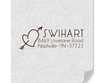 Personalized Address Stamp - Custom Stamp - Heart And Arrow Stamp - Love Address Stamp - Wedding Stamp - Family Stamp - Housewarming - Gifts