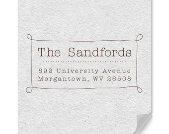 Personalized Return Address Rubber Stamp - Custom Address Stamp - Hand Drawn Border - Home Office Stamps - Weddings - DIY Printing - Simple