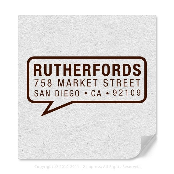 Personalized Address Stamp - Custom Address Stamp - Speech Bubble Stamp - Modern Address Stamp - DIY Stamping - Self Inker - Wood Mounted