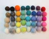 100 felted balls, 8 -10mm MultiColor more than 45 different colors