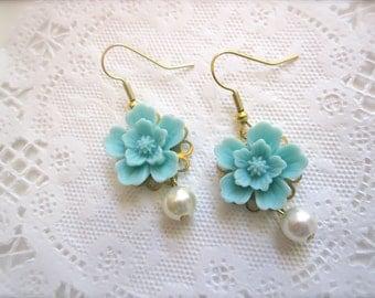 Wedding Jewelry Flower Earrings Aqua turquoise Whimsical shabby chic Bridal Bridesmaids earrings.
