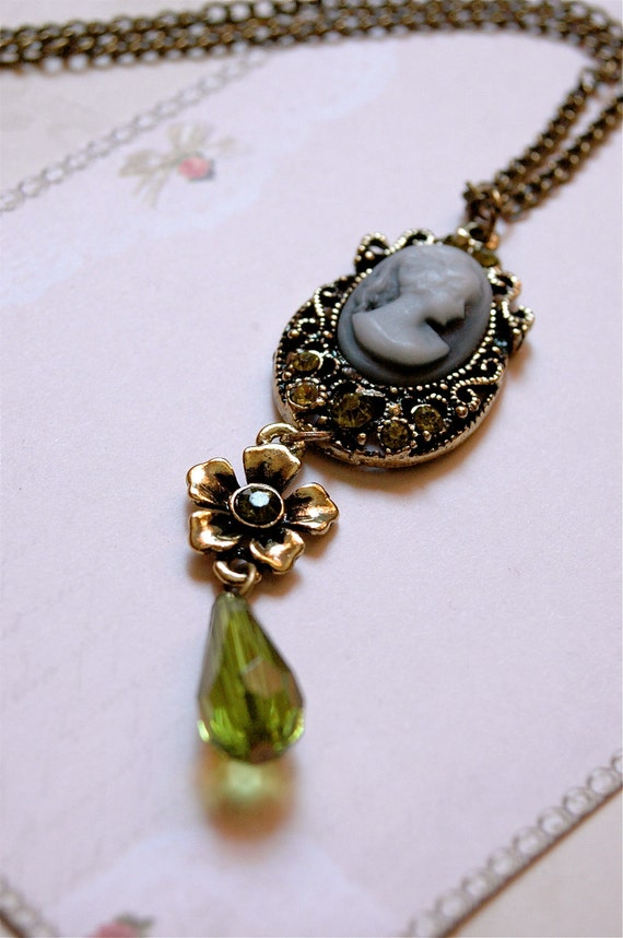 Victorian Necklace, Edwardian Jewelry, Lime Antique brass, Cameo Necklace, Vintage style Jewelry, Long flower necklace, crystals necklace.